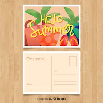 Mão desenhada cartão de elementos de verão