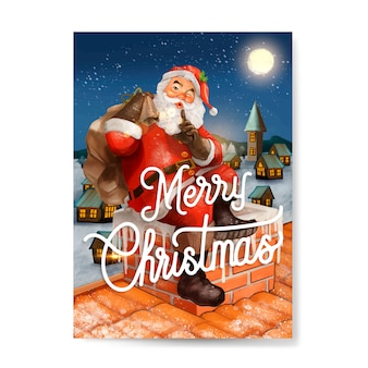 Mão desenhada cartão de papai noel feliz natal
