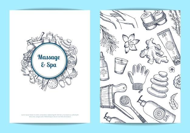 Mão desenhada cartão de spa