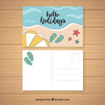 Mão desenhada cartão postal de férias de verão