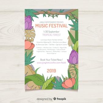 Mão desenhada cartaz de festival de música de quadro de natureza