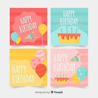 Mão desenhada cartões de aniversário com elementos de festa