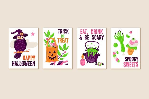Mão desenhada cartões de dia das bruxas