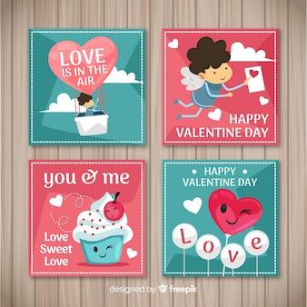 Mão desenhada cartões de elementos dos namorados