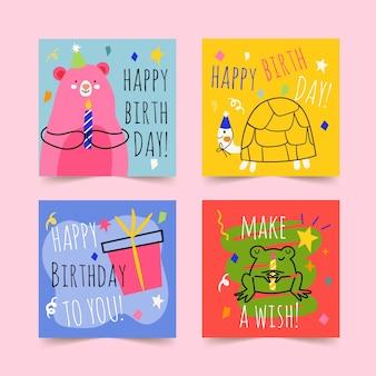 Mão desenhada cartões de feliz aniversário