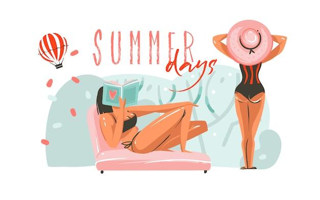Mão desenhada cartões de modelo de ilustrações gráficas de horário de verão dos desenhos animados abstratos com garotas na cena da praia e tipografia moderna dias de verão isolados no fundo branco