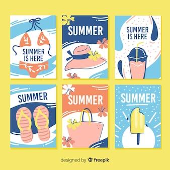 Mão desenhada cartões de verão