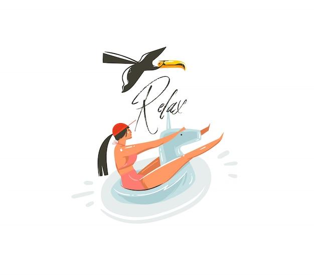 Mão desenhada cartoon abstrato arte gráfica de horário de verão com garota de beleza no anel de flutuador de unicórnio nadando na piscina e relaxar tipografia isolada no fundo branco