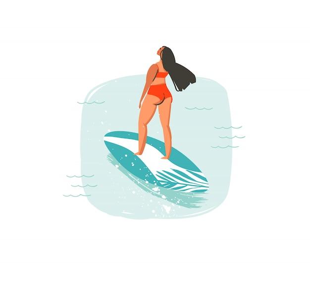 Mão desenhada cartoon abstrato horário de verão divertido ilustrações com natação garota surfista isolada no fundo branco