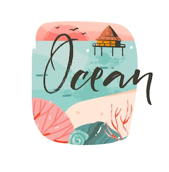 Mão desenhada cartoon abstrato horário de verão ilustrações gráficas modelo fundo logotipo design com paisagem de praia do oceano, pôr do sol rosa e casa de cabine de praia com texto de tipografia do oceano
