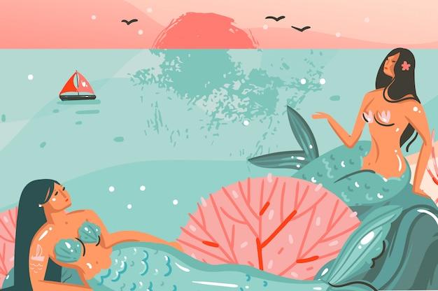 Mão desenhada cartoon abstrato horário gráfico ilustrações modelo fundo com oceano praia paisagem, pôr do sol e beleza meninas sereia isolada na cena da praia