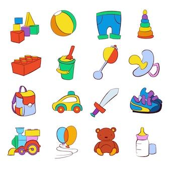 Mão desenhada cartoon bebê brinquedos vector set