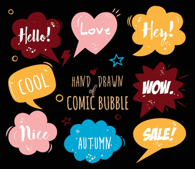 Mão desenhada cartoon bolha em quadrinhos -