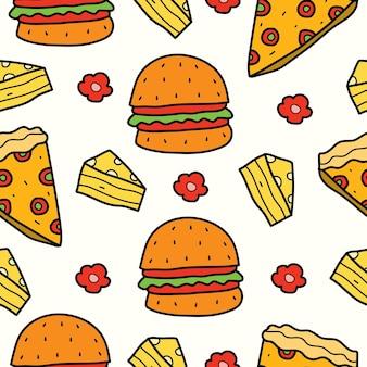 Mão desenhada cartoon comida doodle padrão kawaii