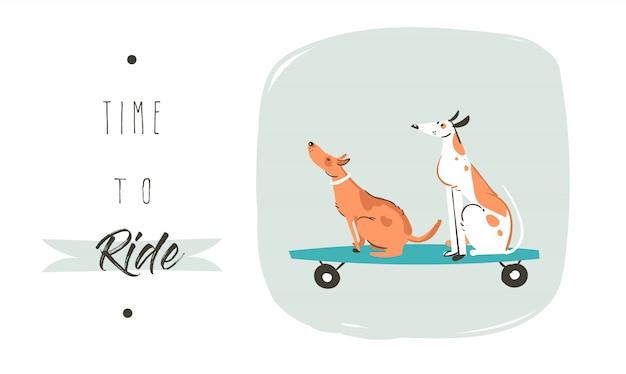 Mão desenhada cartoon desenho horário de verão divertido cartaz ilustração com cães de skate e tipografia moderna citar tempo de andar isolado