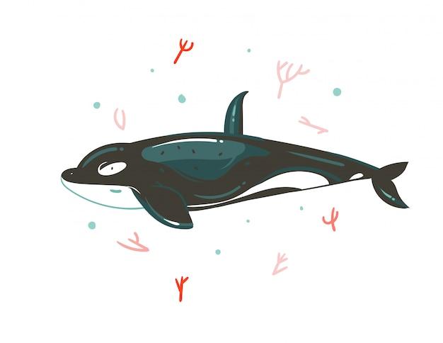 Mão desenhada cartoon gráfico ilustrações subaquáticas de horário de verão com recifes de coral e personagem de grande baleia assassina de beleza isolada