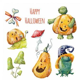 Mão desenhada cartoon halloween kids set