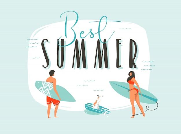 Mão desenhada cartoon horário de verão divertido ilustração com a família feliz surfistas com pranchas longas e tipografia moderna citar melhor verão isolado