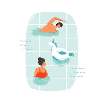 Mão desenhada cartoon horário de verão divertido natação pessoas casal ilustrações com anel de bóia de unicórnio isolado nas ondas do oceano azul