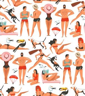 Mão desenhada cartoon horário de verão ilustrações artística padrão sem emenda com pessoas relaxantes, pássaros da praia, cães e beleza correndo garota na praia em fundo branco
