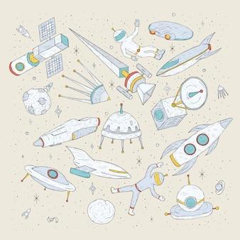 Mão desenhada cartoon planetas espaciais, ônibus espaciais, foguetes, satélites, cosmonauta e outros elementos. conjunto doodles objetos e símbolos cósmicos.