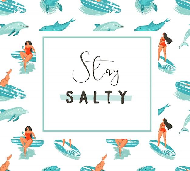 Mão desenhada cartoon verão divertido modelo de cartaz com surfistas e citação de tipografia modesta permanecer salgada no fundo branco