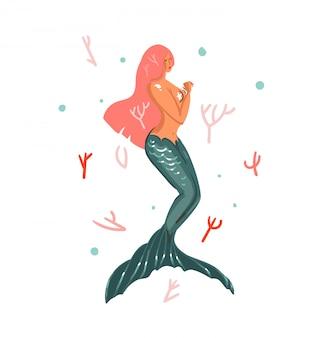 Mão desenhada cartoon verão ilustrações subaquáticas com recifes de corais e natação personagem de menina sereia cabelo rosa sobre fundo branco