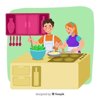 Mão desenhada casal cozinhar plano de fundo