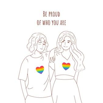 Mão desenhada casal de lésbicas