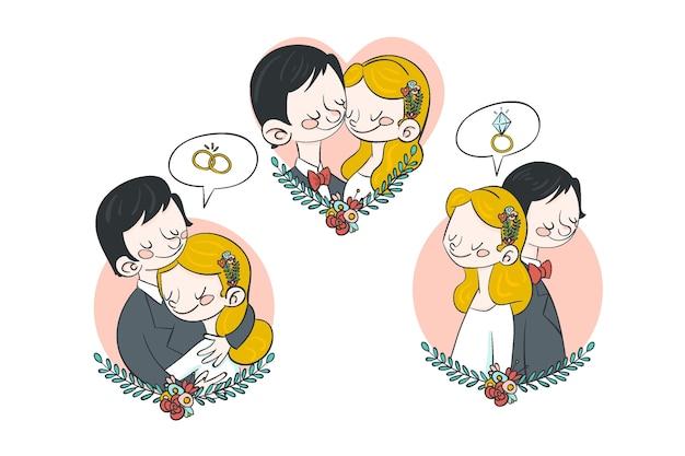 Mão desenhada casal de noivos abraçando