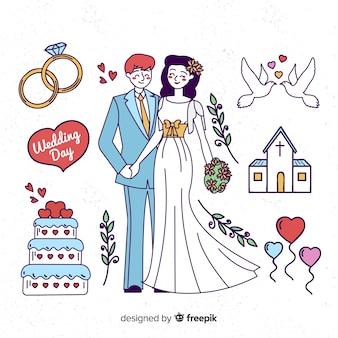 Mão desenhada casal de noivos com elementos