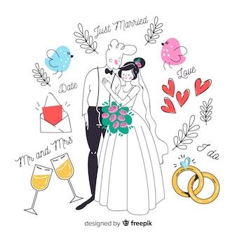 Mão desenhada casal de noivos com ornamentos