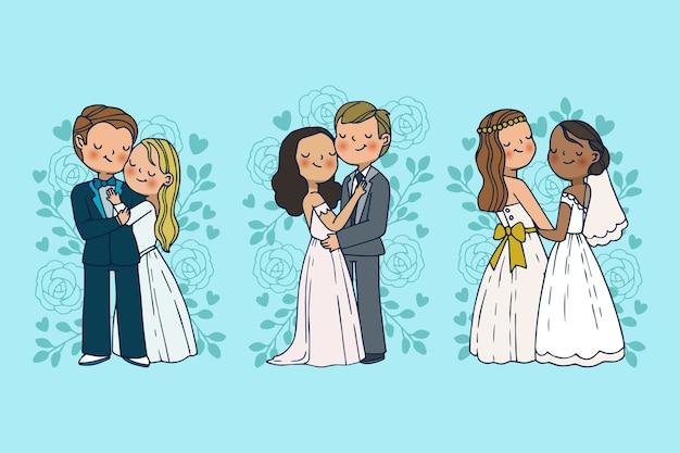 Mão desenhada casal de noivos