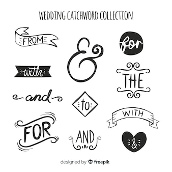 Mão desenhada casamento coleção catchword