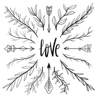 Mão desenhada casamento elementos