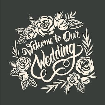 Mão desenhada casamento letras conceito