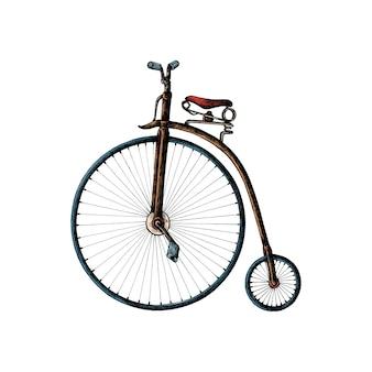 Mão desenhada centavo farthing bicicleta