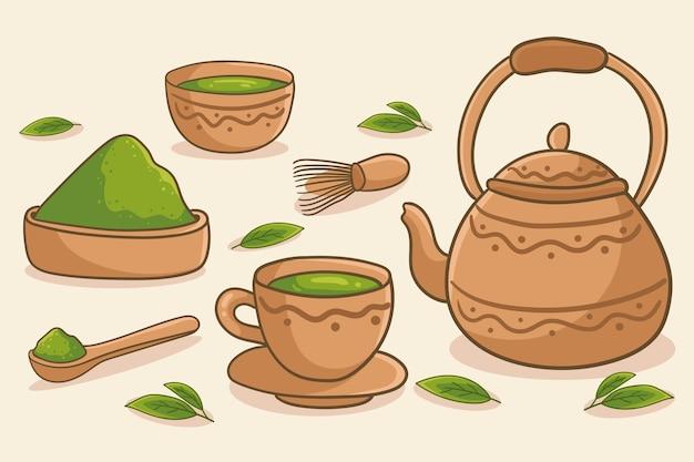 Mão desenhada chá matcha - fundo