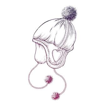 Mão desenhada chapéu de inverno.