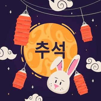 Mão desenhada chuseok com lanternas e coelho