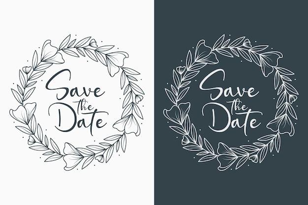 Mão desenhada círculo estilo mínimo de emblemas de casamento floral