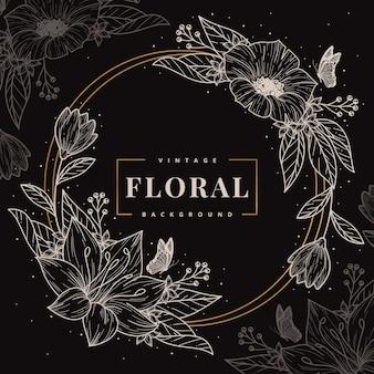 Mão desenhada círculo floral frame modelo de fundo