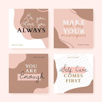 Mão desenhada citações inspiradoras coleção post instagram