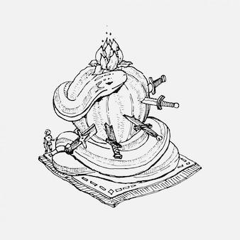Mão desenhada cobra enrolada em cacto em uma ilustração de estilo vintage