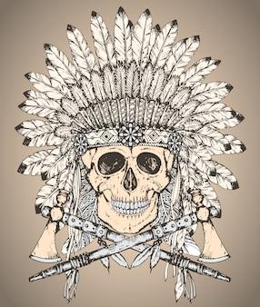 Mão desenhada cocar indiano nativo americano com crânio humano e dois machados