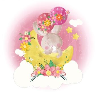 Mão desenhada coelhinho fofo com lua e balões