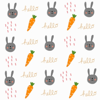 Mão desenhada coelho bonito e padrão de cenoura