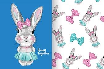 Mão desenhada coelho cute com padrão vector set