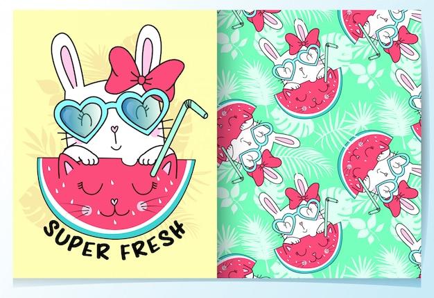 Mão desenhada coelho fofo com conjunto padrão de melancia