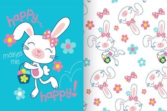 Mão desenhada coelho fofo com conjunto padrão